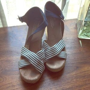 Tom's blue and white striped wedges.